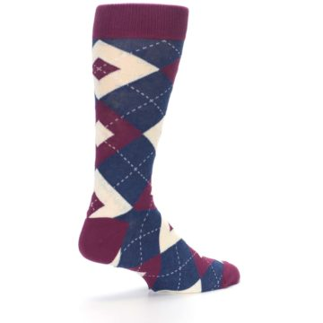 Image of Sangria Navy Argyle Wedding Groomsmen Men's Dress Socks (side-1-back-22)