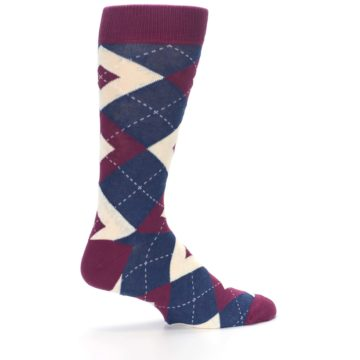 Image of Sangria Navy Argyle Wedding Groomsmen Men's Dress Socks (side-1-23)