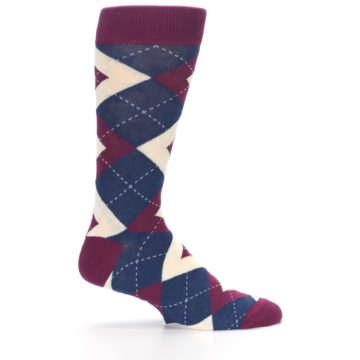 Image of Sangria Navy Argyle Wedding Groomsmen Men's Dress Socks (side-1-24)