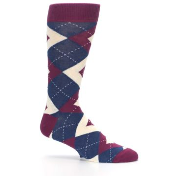 Image of Sangria Navy Argyle Wedding Groomsmen Men's Dress Socks (side-1-25)