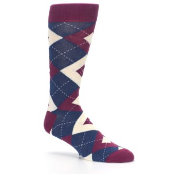 Image of Sangria Navy Argyle Wedding Groomsmen Men's Dress Socks (side-1-26)