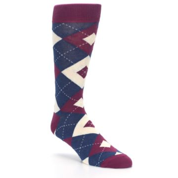 Image of Sangria Navy Argyle Wedding Groomsmen Men's Dress Socks (side-1-27)