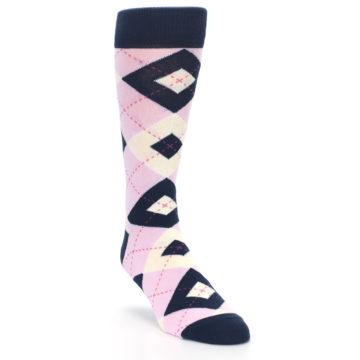 Image of Candy Tickled Pink Navy Argyle Wedding Groomsmen Men's Dress Socks (side-1-front-02)