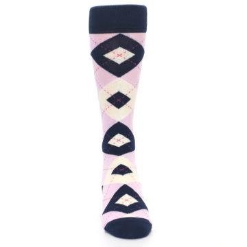 Image of Candy Tickled Pink Navy Argyle Wedding Groomsmen Men's Dress Socks (front-04)