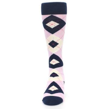 Image of Candy Tickled Pink Navy Argyle Wedding Groomsmen Men's Dress Socks (front-05)