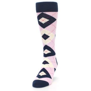 Image of Candy Tickled Pink Navy Argyle Wedding Groomsmen Men's Dress Socks (side-2-front-06)