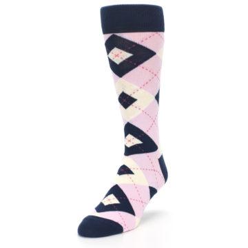 Image of Candy Tickled Pink Navy Argyle Wedding Groomsmen Men's Dress Socks (side-2-front-07)