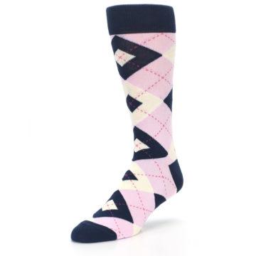 Image of Candy Tickled Pink Navy Argyle Wedding Groomsmen Men's Dress Socks (side-2-front-08)