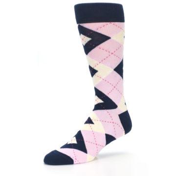 Image of Candy Tickled Pink Navy Argyle Wedding Groomsmen Men's Dress Socks (side-2-09)