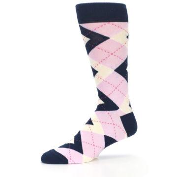 Image of Candy Tickled Pink Navy Argyle Wedding Groomsmen Men's Dress Socks (side-2-10)