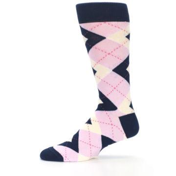 Image of Candy Tickled Pink Navy Argyle Wedding Groomsmen Men's Dress Socks (side-2-11)