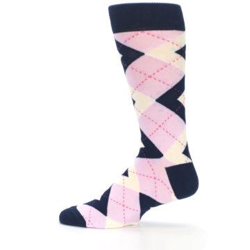 Image of Candy Tickled Pink Navy Argyle Wedding Groomsmen Men's Dress Socks (side-2-12)