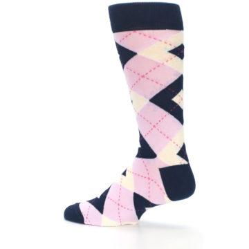 Image of Candy Tickled Pink Navy Argyle Wedding Groomsmen Men's Dress Socks (side-2-13)