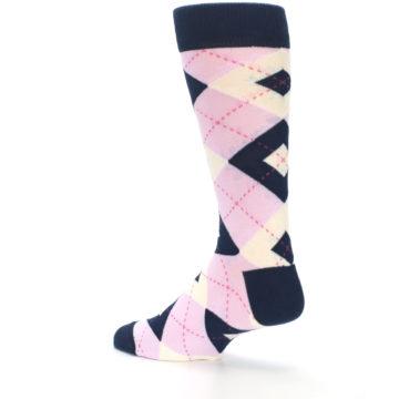 Image of Candy Tickled Pink Navy Argyle Wedding Groomsmen Men's Dress Socks (side-2-back-14)