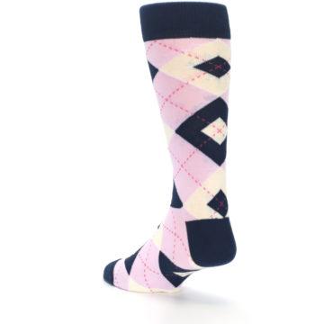 Image of Candy Tickled Pink Navy Argyle Wedding Groomsmen Men's Dress Socks (side-2-back-15)