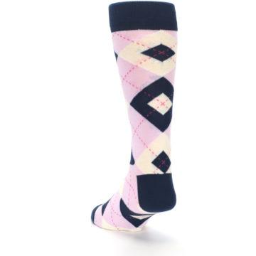 Image of Candy Tickled Pink Navy Argyle Wedding Groomsmen Men's Dress Socks (side-2-back-16)
