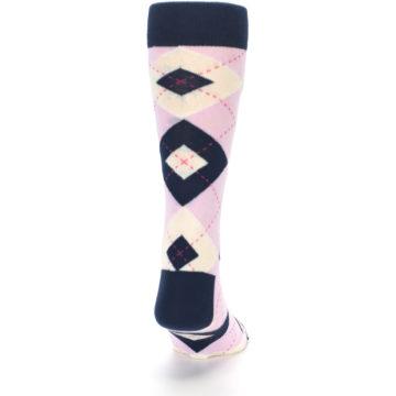 Image of Candy Tickled Pink Navy Argyle Wedding Groomsmen Men's Dress Socks (back-19)