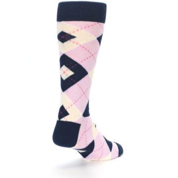 Image of Candy Tickled Pink Navy Argyle Wedding Groomsmen Men's Dress Socks (side-1-back-21)