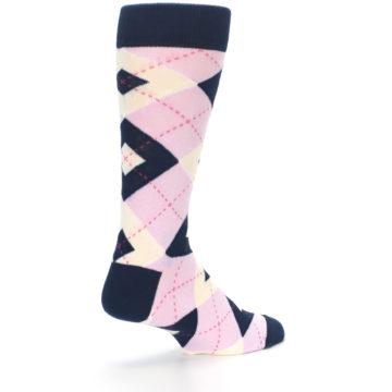 Image of Candy Tickled Pink Navy Argyle Wedding Groomsmen Men's Dress Socks (side-1-back-22)