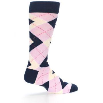Image of Candy Tickled Pink Navy Argyle Wedding Groomsmen Men's Dress Socks (side-1-23)