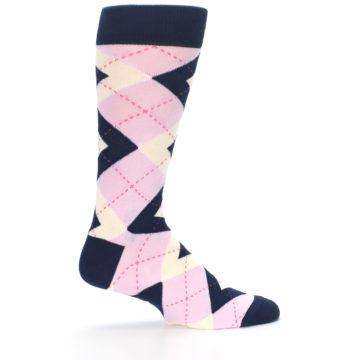 Image of Candy Tickled Pink Navy Argyle Wedding Groomsmen Men's Dress Socks (side-1-24)