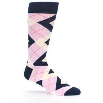 Image of Candy Tickled Pink Navy Argyle Wedding Groomsmen Men's Dress Socks (side-1-25)