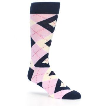 Image of Candy Tickled Pink Navy Argyle Wedding Groomsmen Men's Dress Socks (side-1-26)
