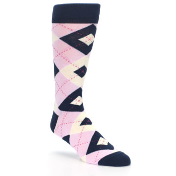 Image of Candy Tickled Pink Navy Argyle Wedding Groomsmen Men's Dress Socks (side-1-27)