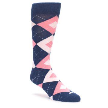 Flamingo and Petal Pink Argyle Wedding Socks for Groomsmen