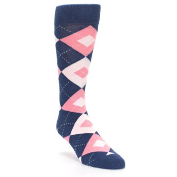 Image of Flamingo Petal Pink Navy Argyle Wedding Groomsmen Men's Dress Socks (side-1-front-02)
