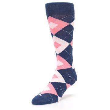 Image of Flamingo Petal Pink Navy Argyle Wedding Groomsmen Men's Dress Socks (side-2-front-08)