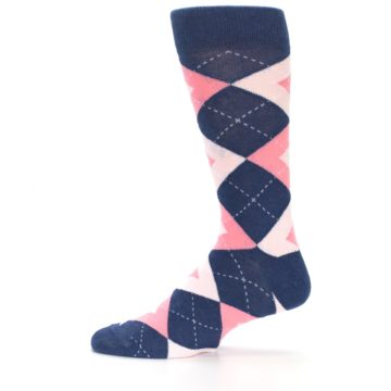 Image of Flamingo Petal Pink Navy Argyle Wedding Groomsmen Men's Dress Socks (side-2-12)