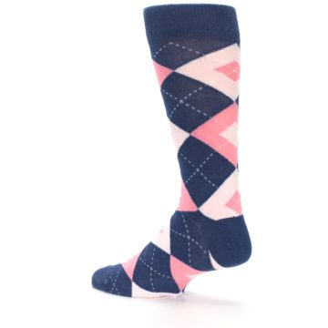Image of Flamingo Petal Pink Navy Argyle Wedding Groomsmen Men's Dress Socks (side-2-back-14)