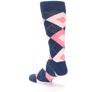 Image of Flamingo Petal Pink Navy Argyle Wedding Groomsmen Men's Dress Socks (side-2-back-15)