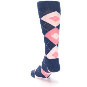 Image of Flamingo Petal Pink Navy Argyle Wedding Groomsmen Men's Dress Socks (side-2-back-16)