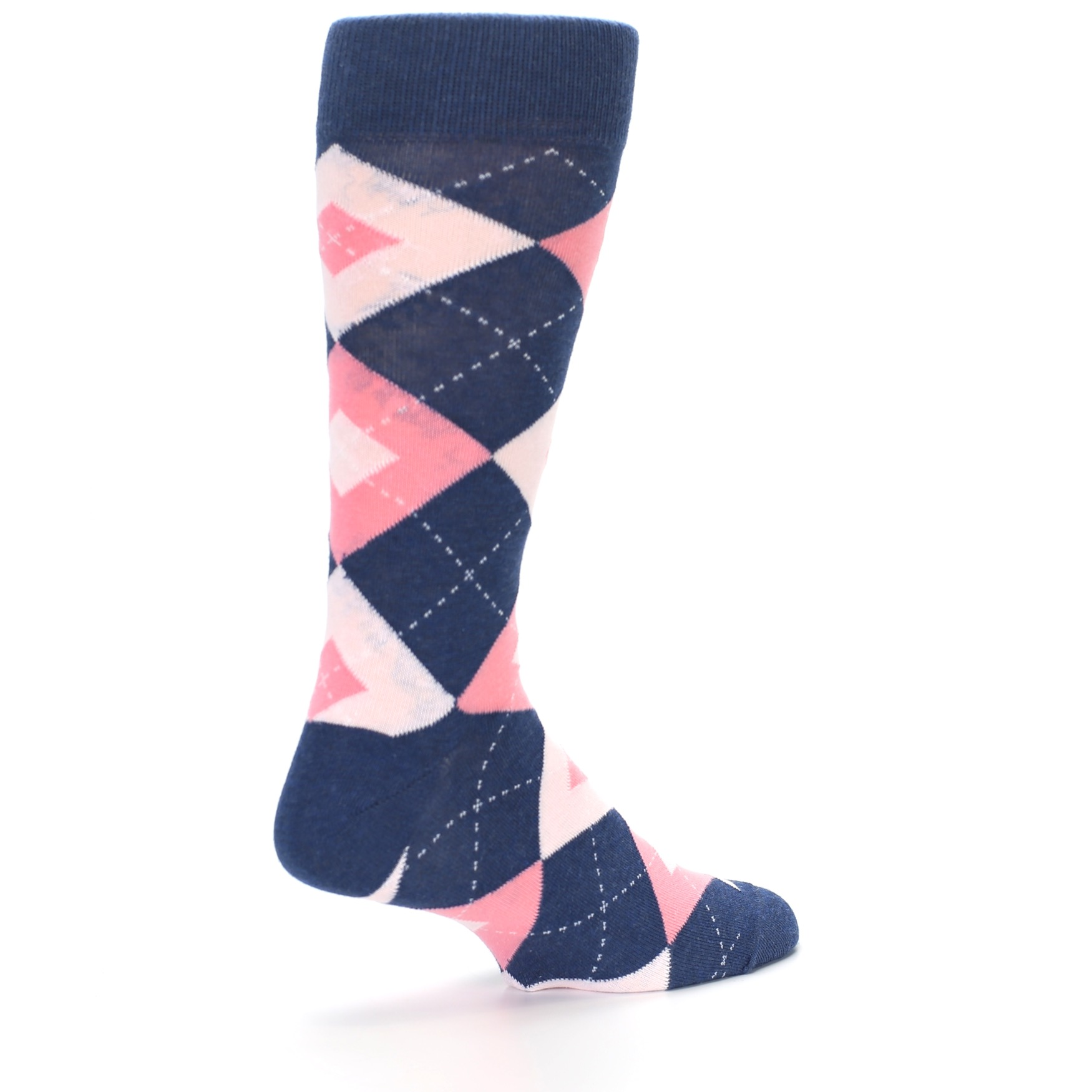 82c51f885bd8 Image of Flamingo Petal Pink Navy Argyle Wedding Groomsmen Men's Dress Socks  (side-1