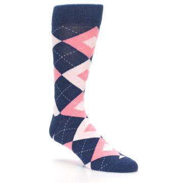 Image of Flamingo Petal Pink Navy Argyle Wedding Groomsmen Men's Dress Socks (side-1-27)