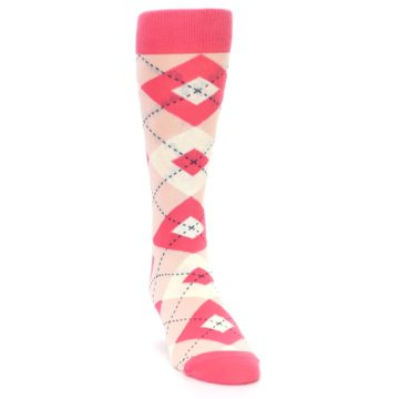 Image of Guava Bellini Pink Argyle Wedding Groomsmen Men's Dress Socks (side-1-front-03)
