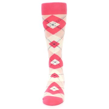 Image of Guava Bellini Pink Argyle Wedding Groomsmen Men's Dress Socks (front-05)