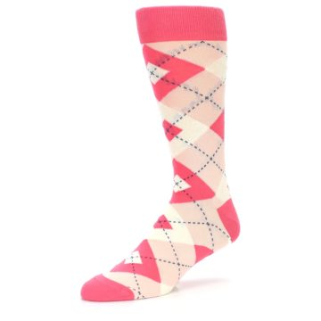Image of Guava Bellini Pink Argyle Wedding Groomsmen Men's Dress Socks (side-2-09)