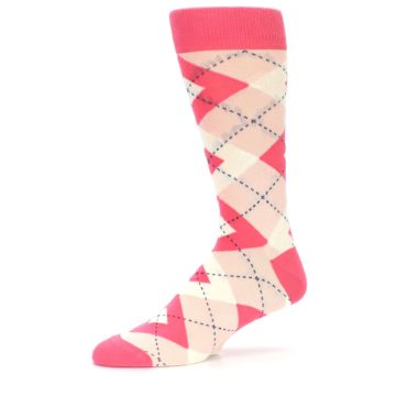 Image of Guava Bellini Pink Argyle Wedding Groomsmen Men's Dress Socks (side-2-10)