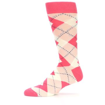 Image of Guava Bellini Pink Argyle Wedding Groomsmen Men's Dress Socks (side-2-11)