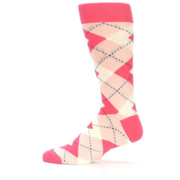 Image of Guava Bellini Pink Argyle Wedding Groomsmen Men's Dress Socks (side-2-12)