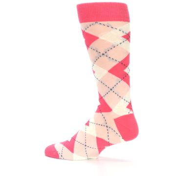 Image of Guava Bellini Pink Argyle Wedding Groomsmen Men's Dress Socks (side-2-13)