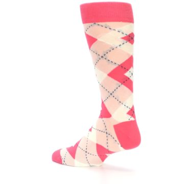 Image of Guava Bellini Pink Argyle Wedding Groomsmen Men's Dress Socks (side-2-back-14)