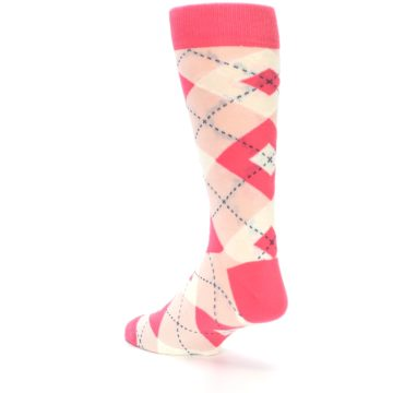 Image of Guava Bellini Pink Argyle Wedding Groomsmen Men's Dress Socks (side-2-back-15)