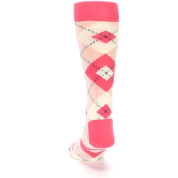 Image of Guava Bellini Pink Argyle Wedding Groomsmen Men's Dress Socks (back-17)