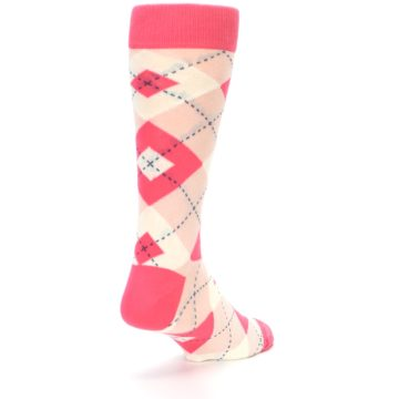 Image of Guava Bellini Pink Argyle Wedding Groomsmen Men's Dress Socks (side-1-back-21)