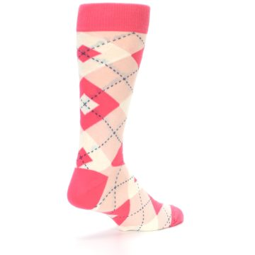 Image of Guava Bellini Pink Argyle Wedding Groomsmen Men's Dress Socks (side-1-back-22)