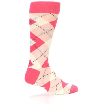 Image of Guava Bellini Pink Argyle Wedding Groomsmen Men's Dress Socks (side-1-23)